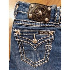 Miss Me 26x24 boyfriend capris blue jeans